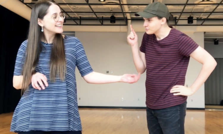 Pantomime Pass Teaching Artist Maria Paduano and Former Two River Theater Artistic Assistant, Brian Eckert